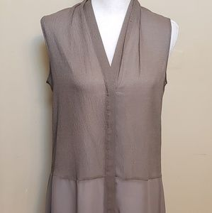 Tahari semi sheer ecru tunic top, size small